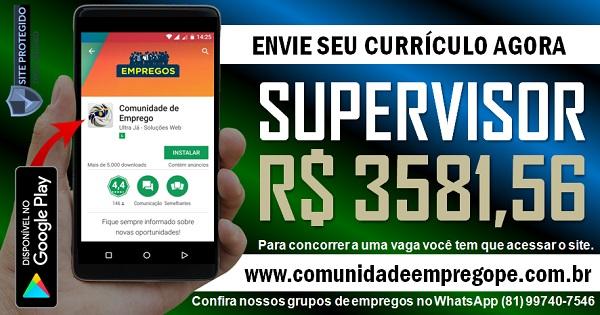 SUPERVISOR DE VENDAS COM SALÁRIO R$ 3581,56 PARA INDÚSTRIA DE GRANDE PORTE