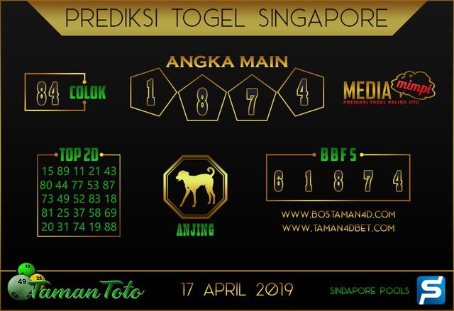 Prediksi Togel SINGAPORE TAMAN TOTO 17 APRIL 2019
