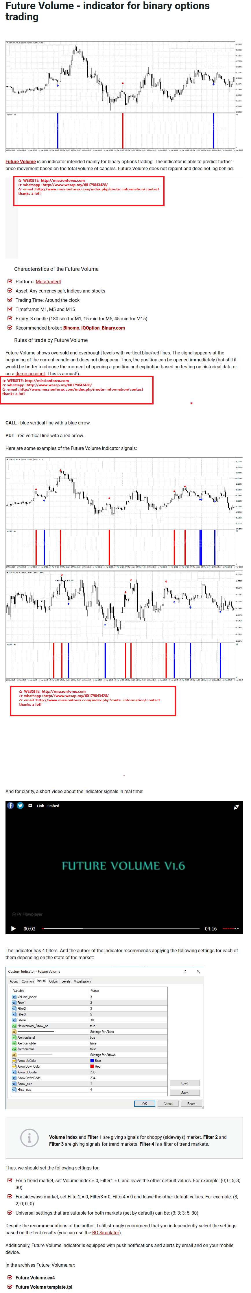 Future Volume - indicator for binary options trading