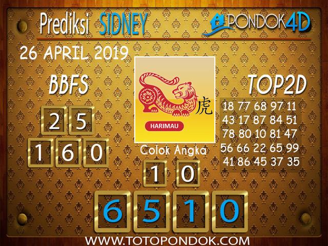 Prediksi Togel SYDNEY PONDOK4D 26 APRIL 2019