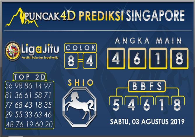 PREDIKSI TOGEL SINGAPORE PUNCAK4D 03 AGUSTUS 2019