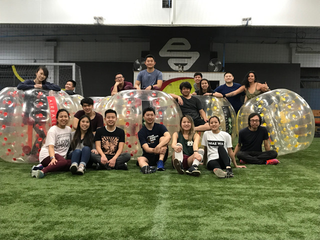 Team Building Event with Bubble Soccer at an indoor soccer facility in Los Angeles