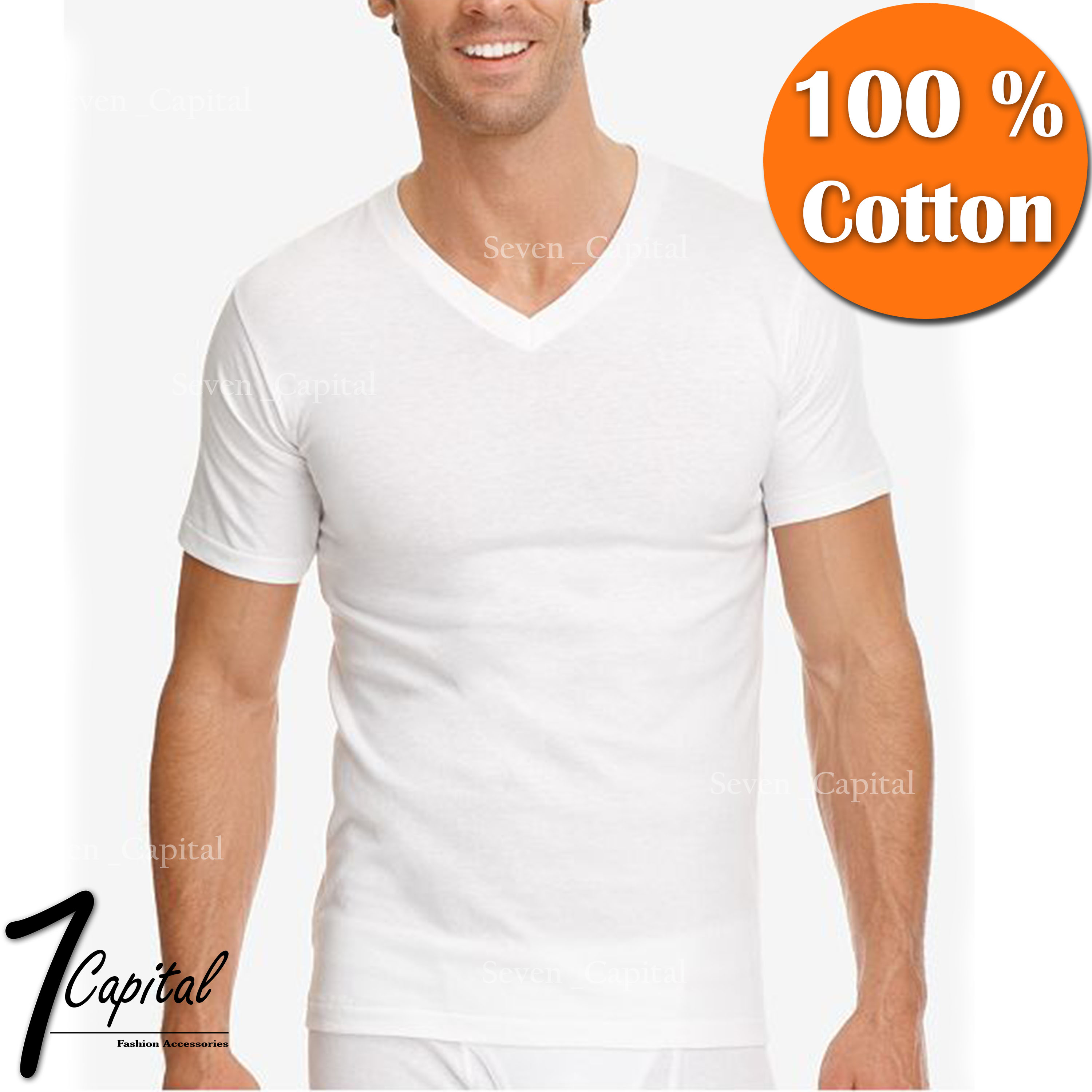 11372023b Details about 3-12 PACK Mens 100% Cotton Tagless Crew V-Neck Undershirt  White T Shirt Tee S-XL