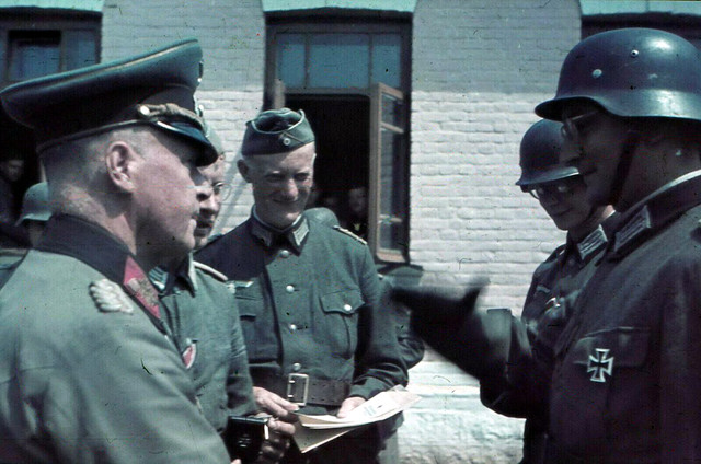 Rewarding Wehrmacht soldier 1941. Photo in color