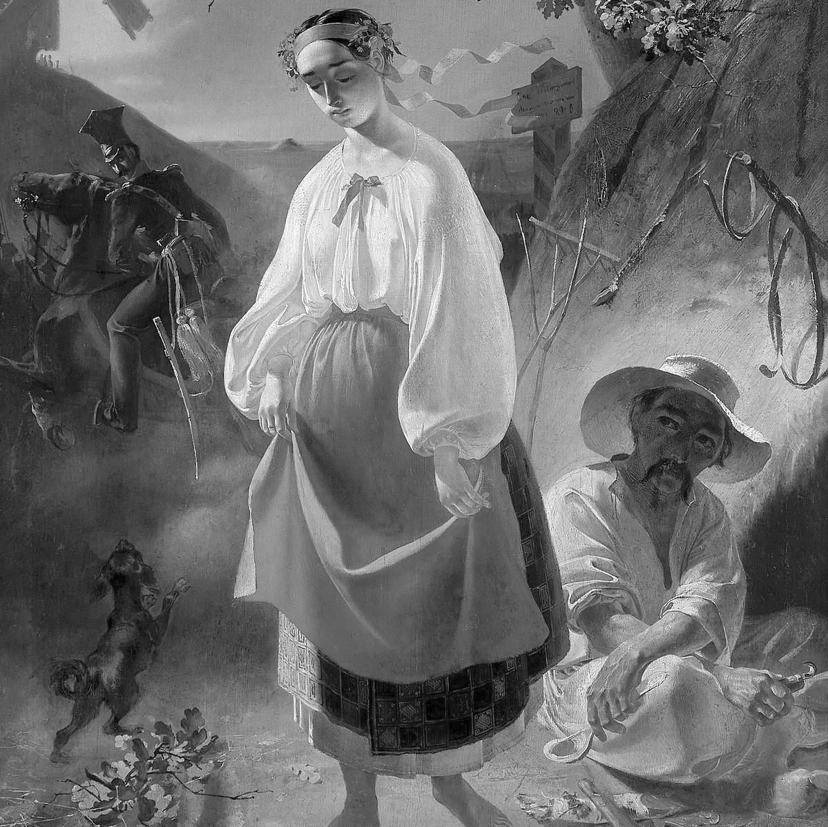 «Катерина» 1842, офорт із серії «Живописна Україна» Т. Шевченко.