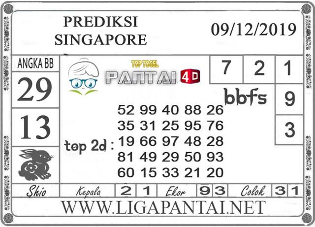 PREDIKSI TOGEL SINGAPORE PANTAI4D 09 DESEMBER 2019