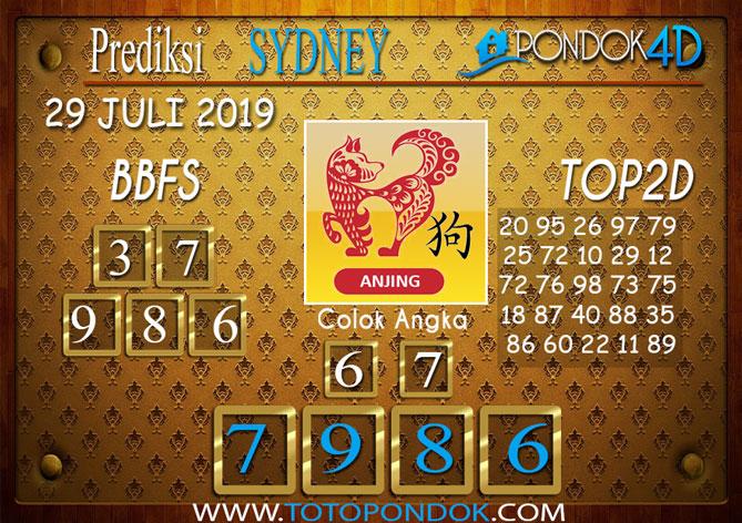 Prediksi Togel SYDNEY PONDOK4D 29 JULI 2019