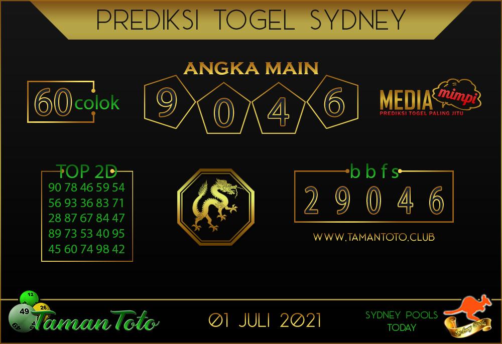 Prediksi Togel SYDNEY TAMAN TOTO 01 JULI 2021