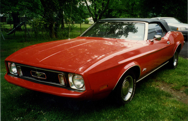 73-Mustang-in-original-2-B-Red-before-Painted-Gold-Glow-1