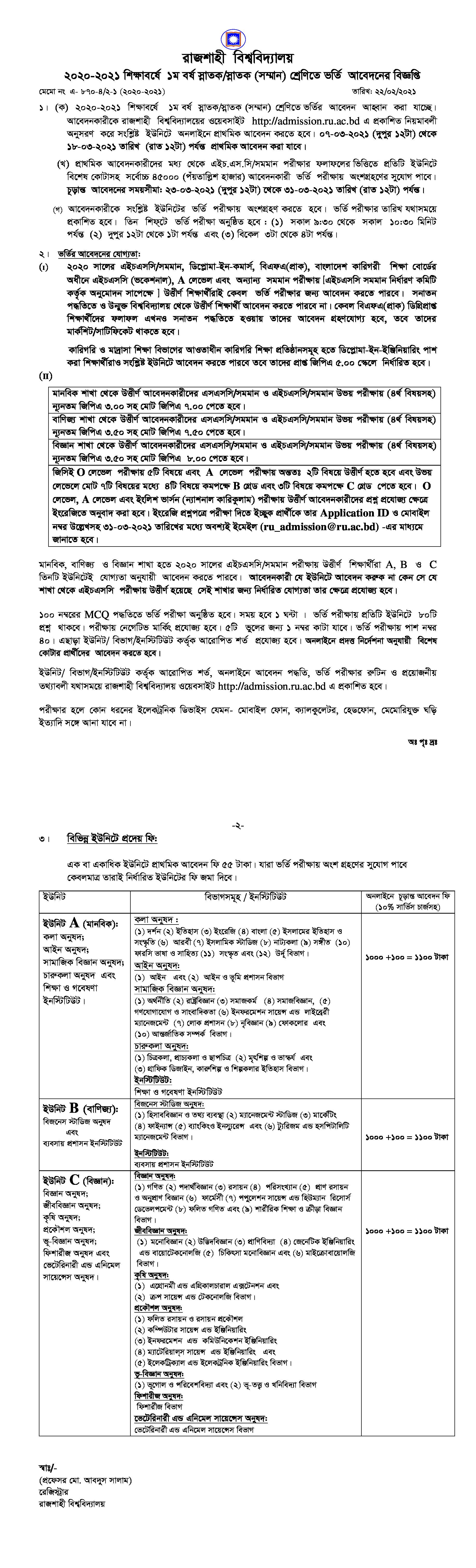 Rajshahi University Admission Circular 2021