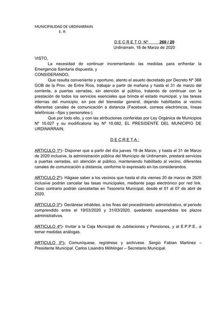 Locales: EL MUNICIPIO NO ATENDERA AL PUBLICO EN FORMA PERSONAL