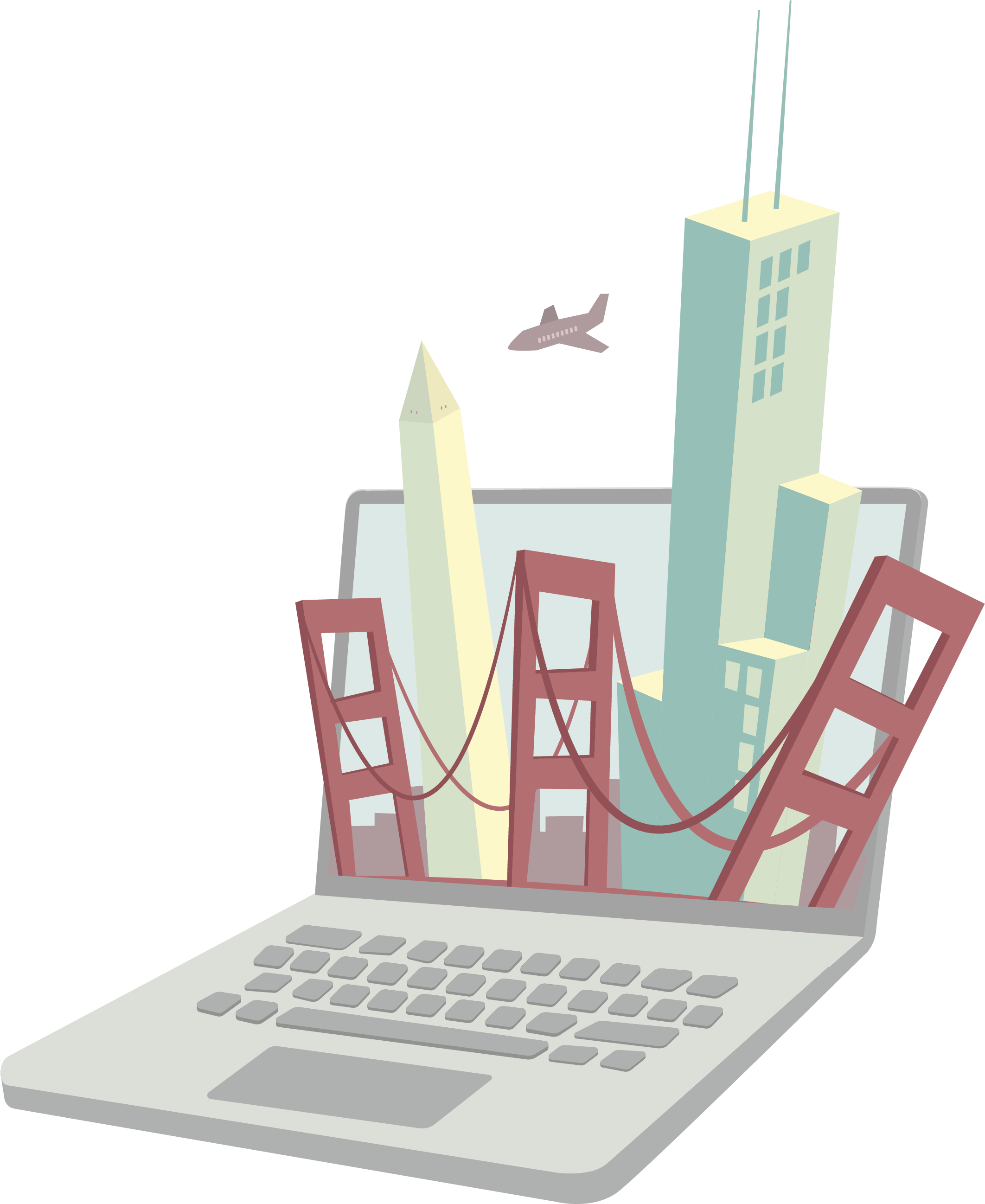 Illustrated image of city monuments inside a laptop screen