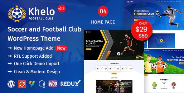 ThemeForest - Khelo v2.2 - Soccer WordPress Theme - 23889382