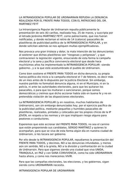 Elecciones 2019: La Intransigencia Popular repudió la denuncia del Frente Para Todos y la calificó de infundada y sin sentido.