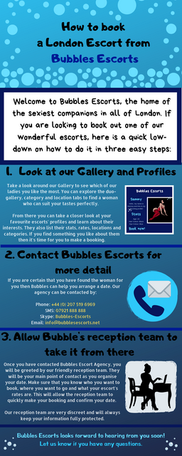 an infographic on how to book a bubbles escort