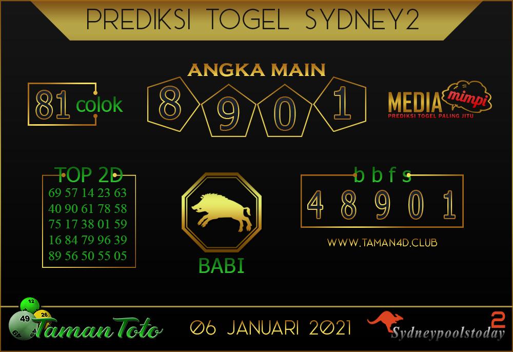Prediksi Togel SYDNEY 2 TAMAN TOTO 06 JANUARI 2021