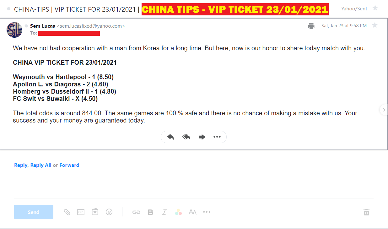 CHINA FIXED MATCHES - VIP TICKET FOR 23/01/2021 - SURE MATCHES