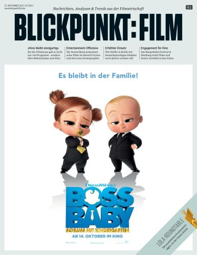 Cover: Blickpunkt Film Magazin No 39 vom 27  September 2021