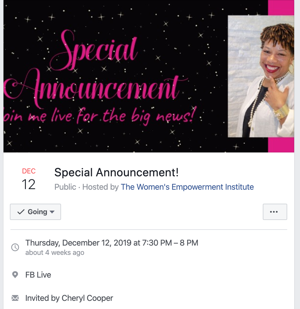 Create a Facebook event for a special announcement for your community.