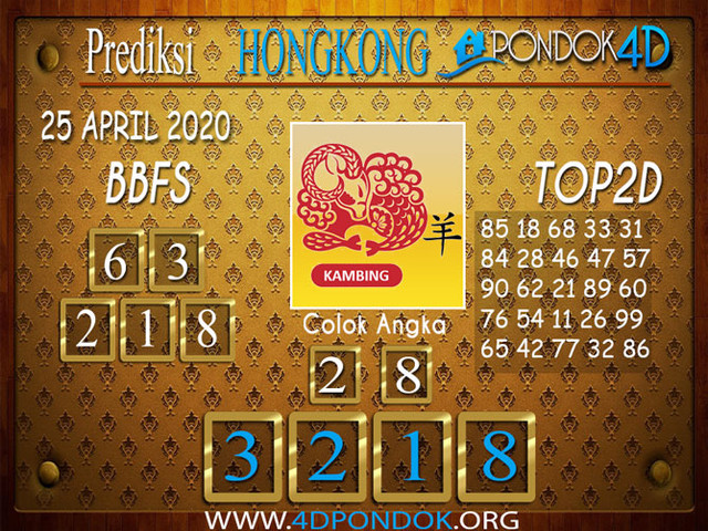Prediksi Togel HONGKONG PONDOK4D 25 APRIL 2020