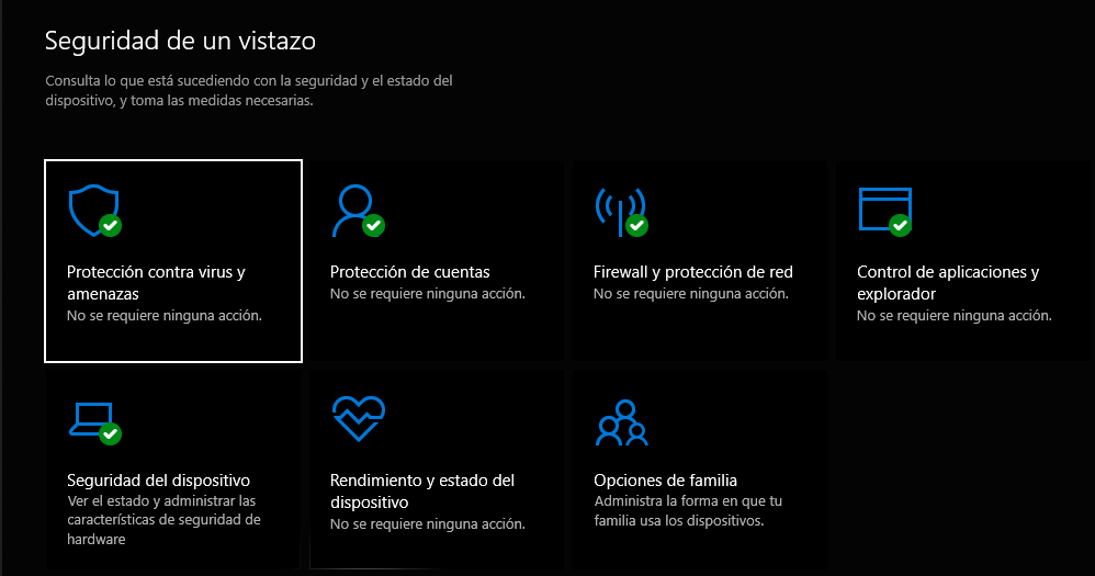 intefaz de windows defender
