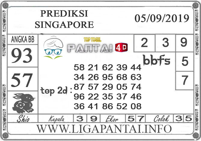 "PREDIKSI TOGEL ""SINGAPORE"" PANTAI4D 05 SEPTEMBER 2019"