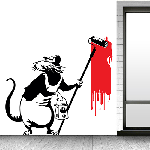 Banksy Style Rat With Paint Roller Design Wall Art Decal Vinyl Sticker