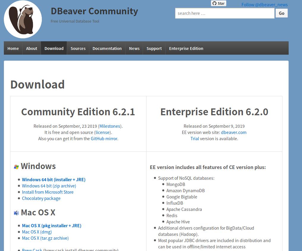 DBeaver Download Page