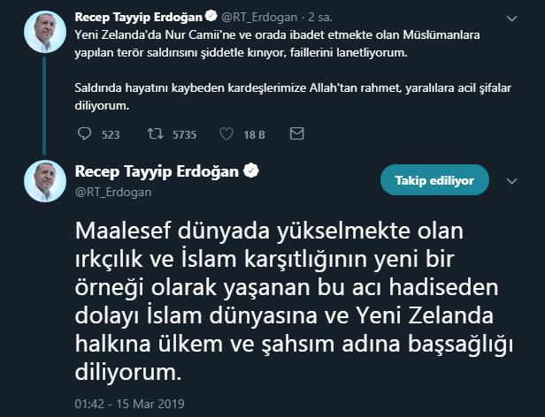 Cumhurbaşkanı Erdoğan Yeni Zelanda cami saldırısı açıklaması