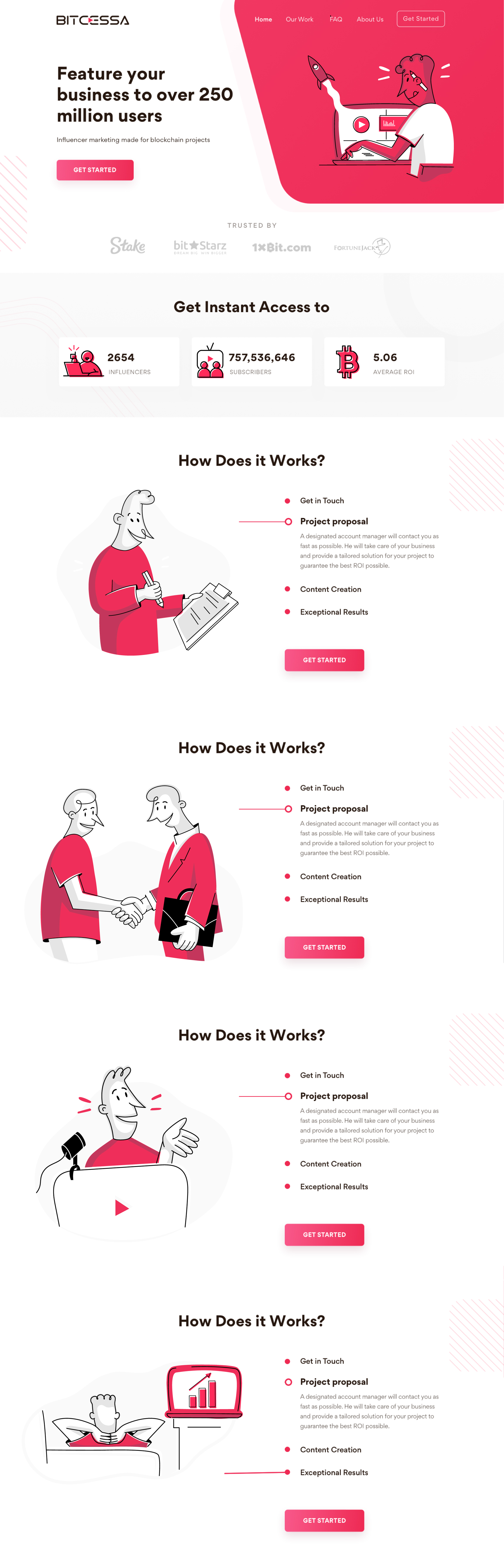 Landing page with cartoonish illustrations