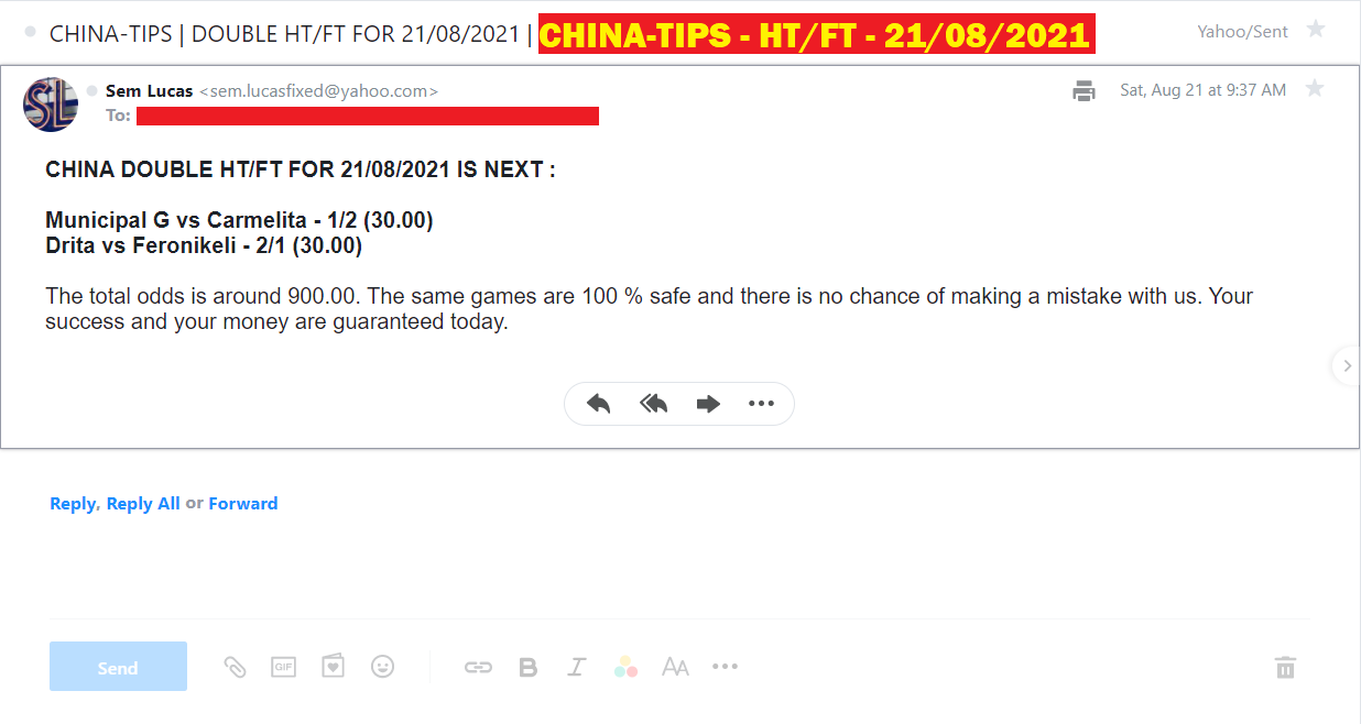 CHINA DOUBLE HT/FT FIXED MATCHES FOR 21/08/2021