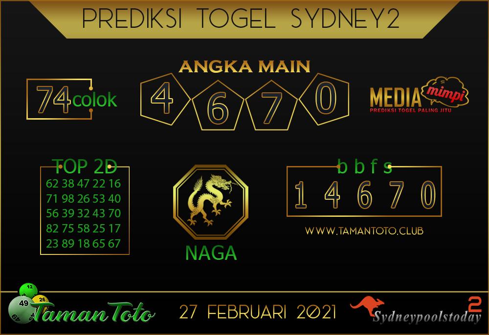 Prediksi Togel SYDNEY 2 TAMAN TOTO 27 FEBRUARI 2021