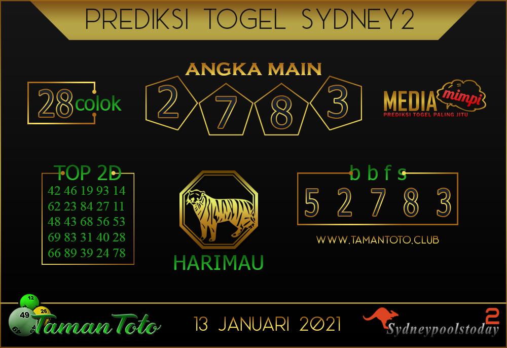 Prediksi Togel SYDNEY 2 TAMAN TOTO 13 JANUARI 2021