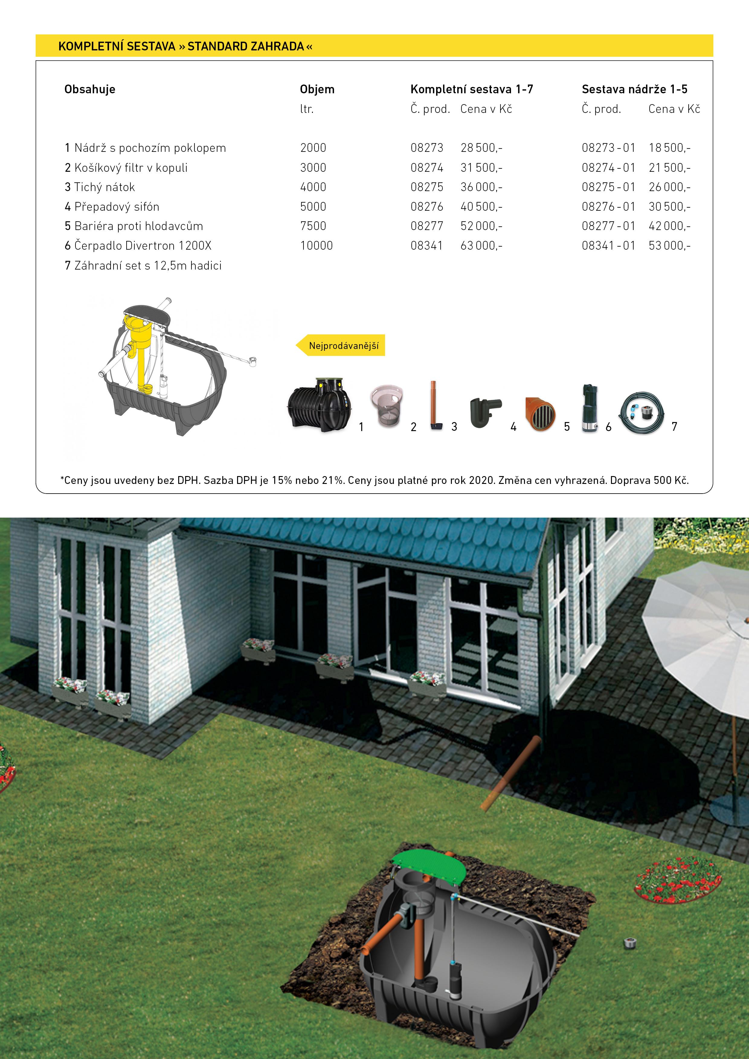 Nádrže na dešťovou vodu - sestava Standard zahrada