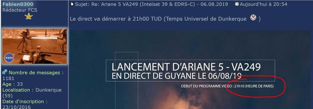 Ariane 5 VA249 (Intelsat 39 + EDRS-C/Hylas-3) - 6.8.2019   - Page 2 Capture