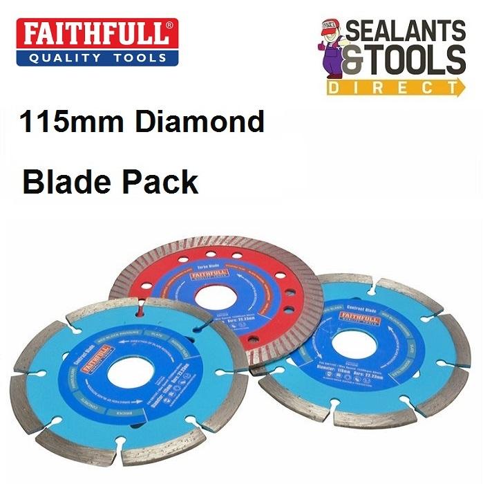 Faithfull 115mm Angle Grinder Diamond Cutting Discs FAIDBSET3CT