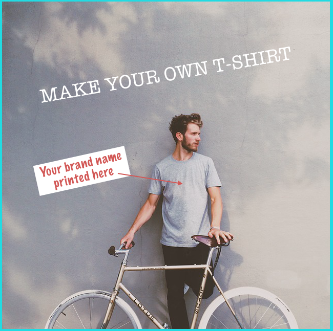 image of a man with a bicycle for make your own t-shirt concept