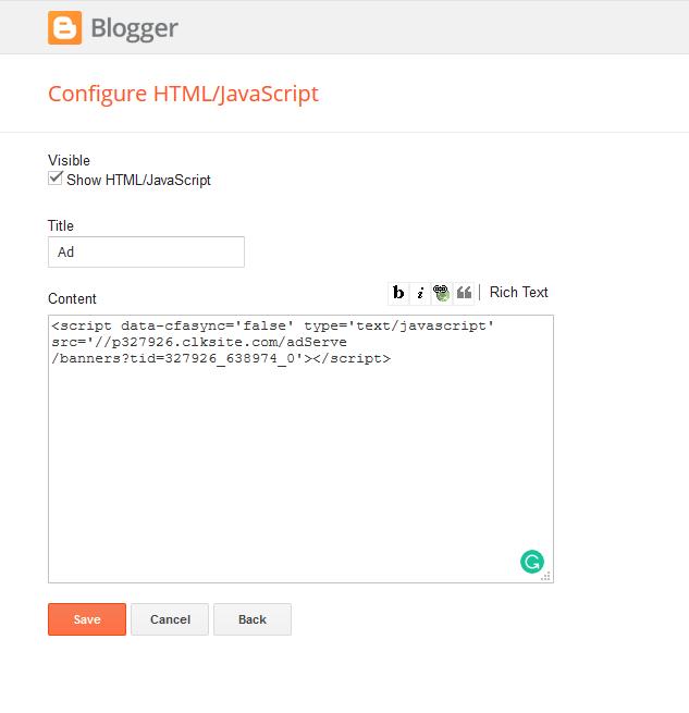 Add Revenuehits Ad to Blogger