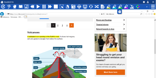Read&Write toolbar being used on a web page