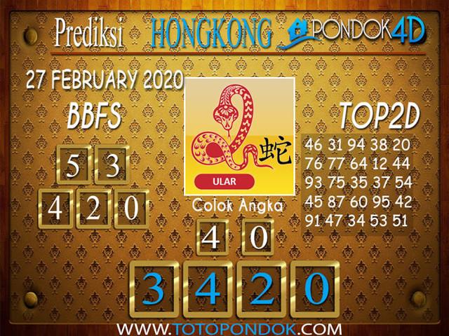 Prediksi Togel HONGKONG PONDOK4D 27 FEBRUARY 2020