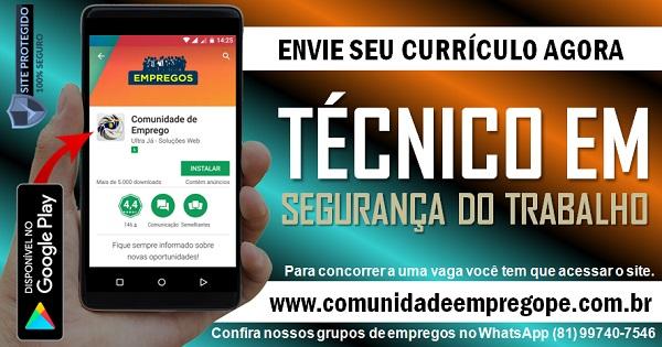 TÉCNICO EM  SEGURANÇA DO TRABALHO COM SALÁRIO R$1800,00 PARA FERNANDO DE NORONHA