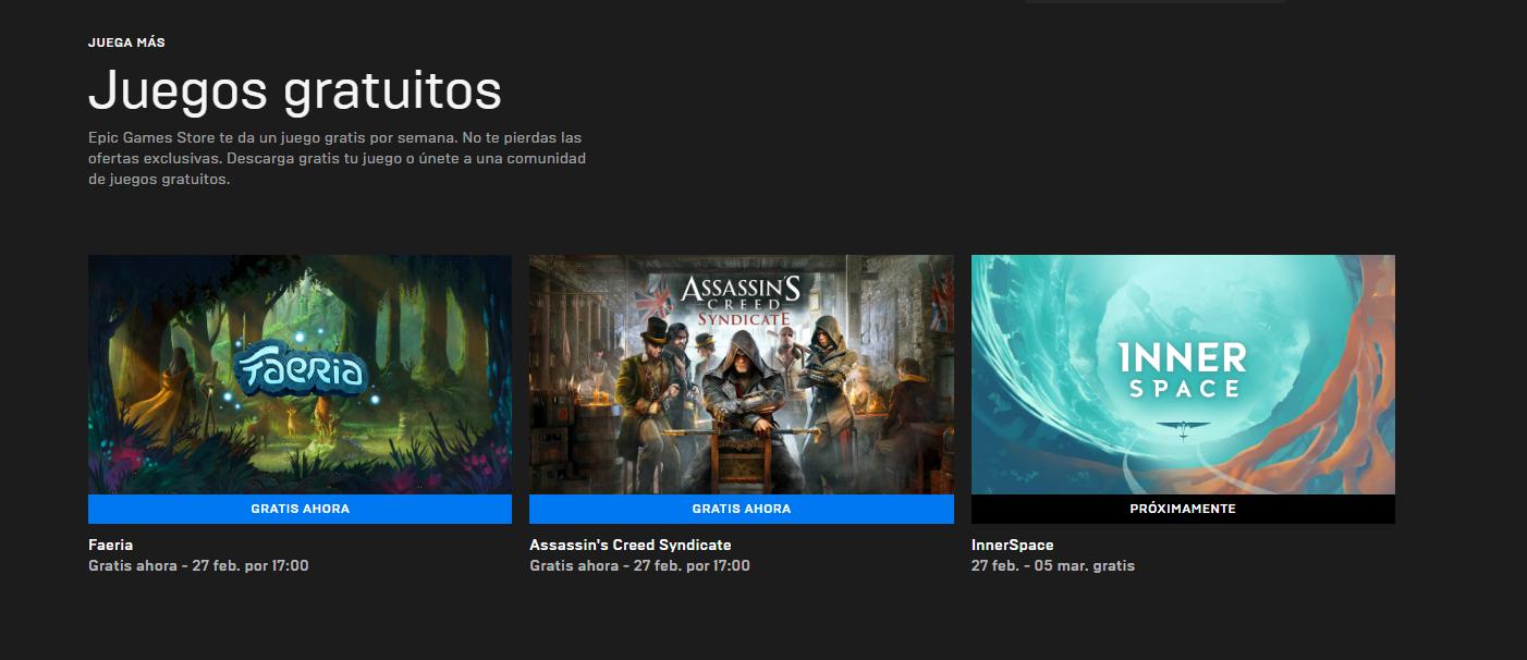 Kingdom Come y Aztez. Totalmente gratis. Captura de pantalla de la página de videojuegos gratis de Epic Games