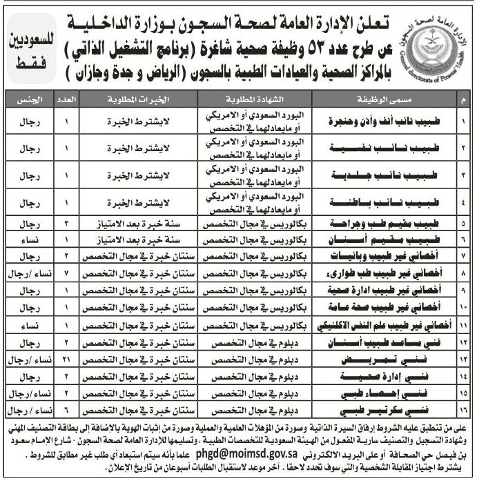 وزارة الداخلية وظائف صحة السجون 1441
