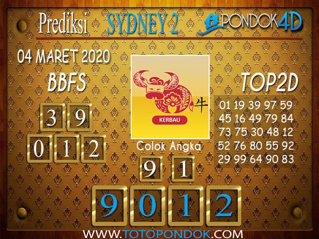 Prediksi Togel SYDNEY 2 PONDOK4D 04 MARET 2020