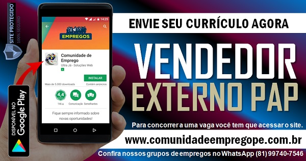 VENDEDOR EXTERNO PAP PARA EMPRESA DO SEGMENTO ALIMENTÍCIO
