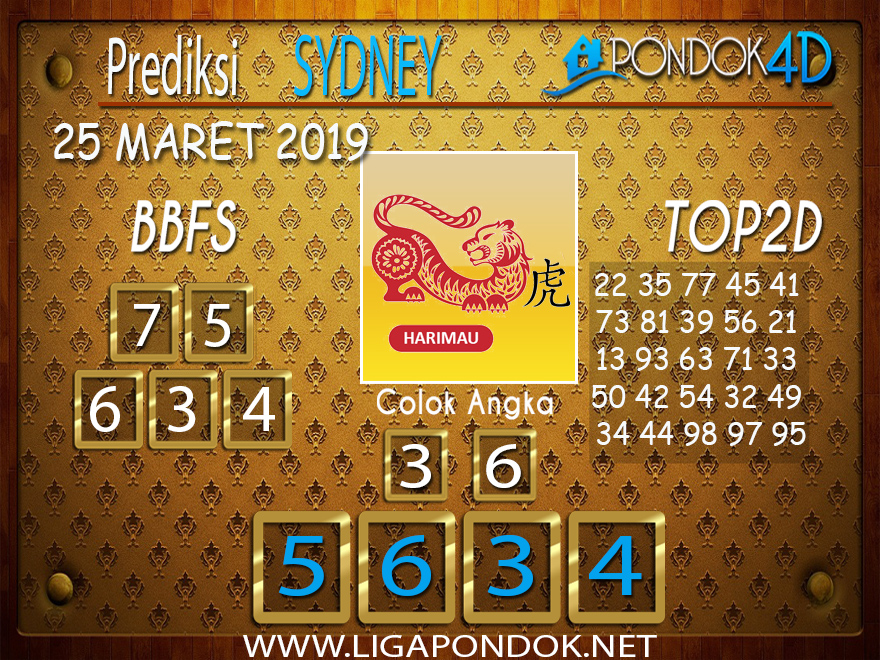 Prediksi Togel SYDNEY PONDOK4D 25 MARET 2019