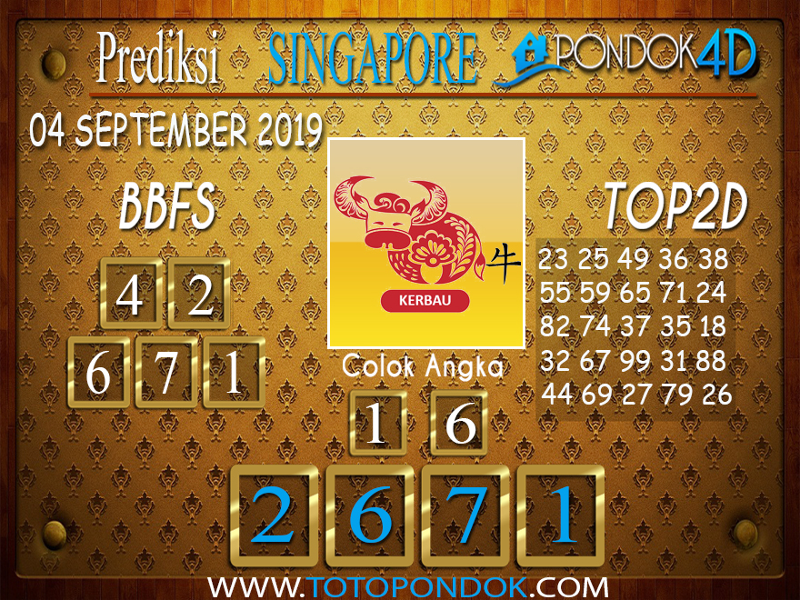 Prediksi Togel SINGAPORE PONDOK4D 04 SEPTEMBER 2019