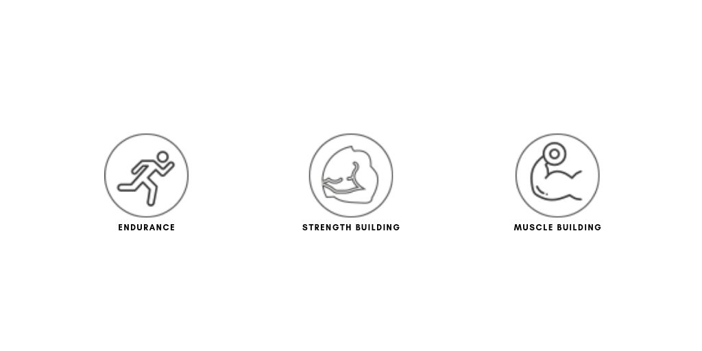 Endurance, strength building and muscle building