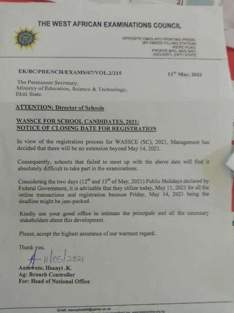 WAEC 2021 Final Deadline For School Candidates Registeration