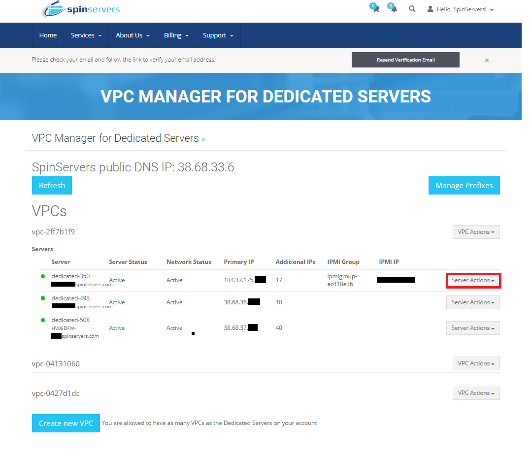 VPC Manager Server Actions